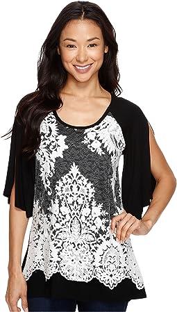 Split Sleeve Lace Overlay Top