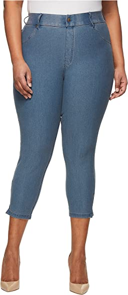 Plus Size Ankle Slit Essential Denim Capris