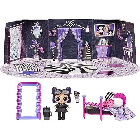 LOL Surprise Furniture, Con Bambola Dusk e 10+ sorprese, Set da gioco pieghevole per bambole in miniatura, Compatibile con casa OMG, Serie 4, Bambola da collezione adatta dai 3 anni in su.