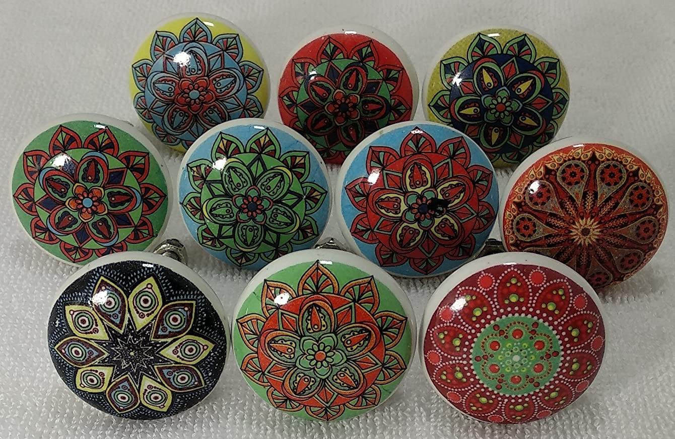 Zoya Ceramic Knobs Handmade Ceramic Multicolor Round knobs Pulls Cabinet Knobs Kitchen Knobs Bathroom Pulls (Mandala 04)