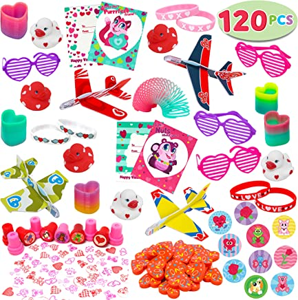 120+Pcs Happy Valentines Day Party Favor Supplies Set includes Heart Glasses, Bracelet, bookmark Perfect for Kids, Preschool Decorations, Photo Props, Wedding, Baby Shower, and School Classroom Prizes.