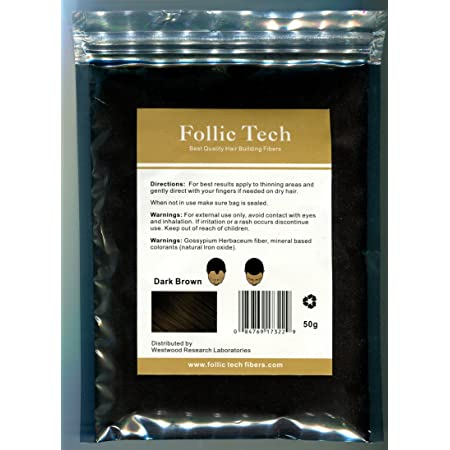Follic Tech Hair Building Fibers Dark Brown 50 Grams Highest Grade Refill That You Can Use for Your Bottles from Competitors Like Toppik, Xfusion, Miracle Hair