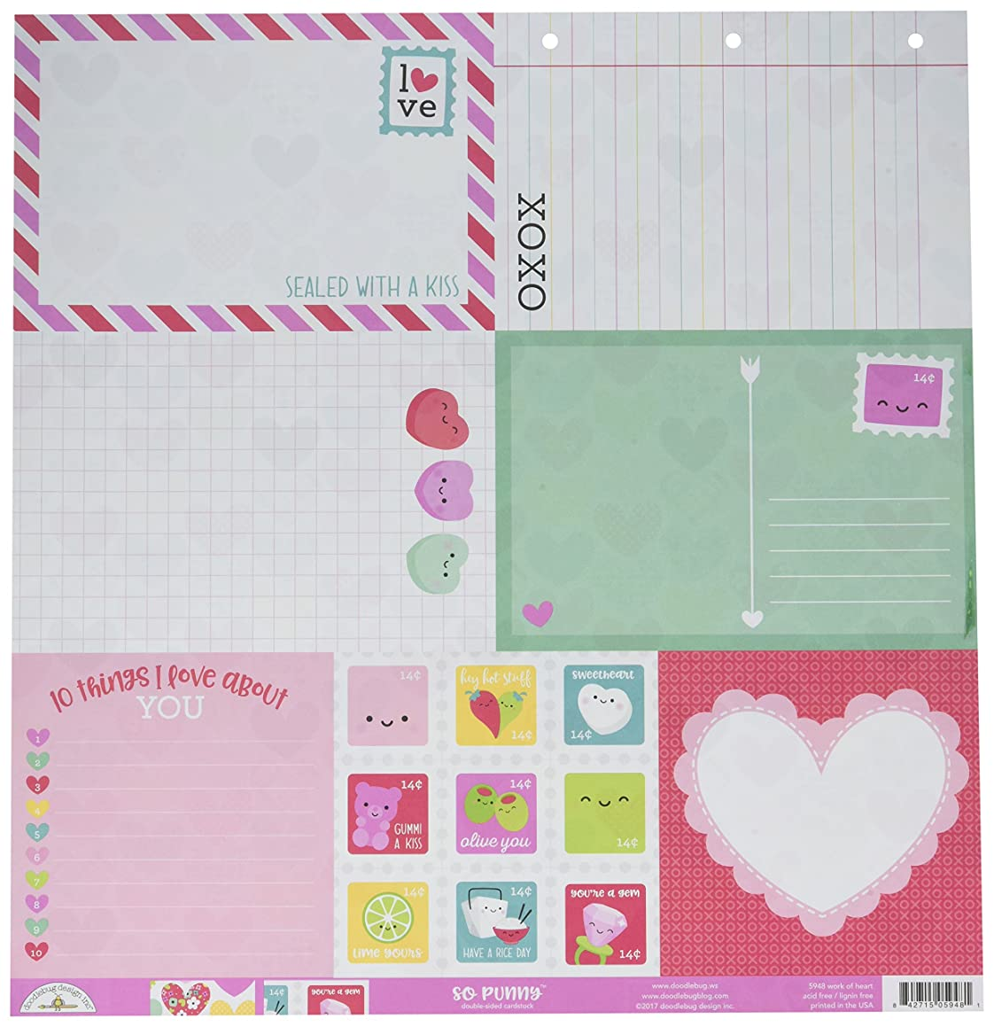DOODLEBUG Work of Heart So Punny Double-Sided Cardstock 12