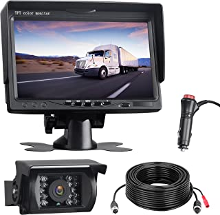 $69 » Vehicle Backup Camera Kit 7-Inch Monitor, 18 IR LED Night Vision Rear View Camera Guide Line IP67 Waterproof for Cars Truc...