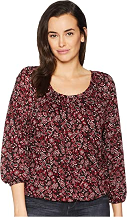 Bandana Scoop Neck Peasant Top