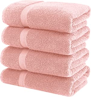 White Classic Luxury Bath Towels Large - Cotton Hotel spa Bathroom Towel | 27x54 | 4 Pack | Pink