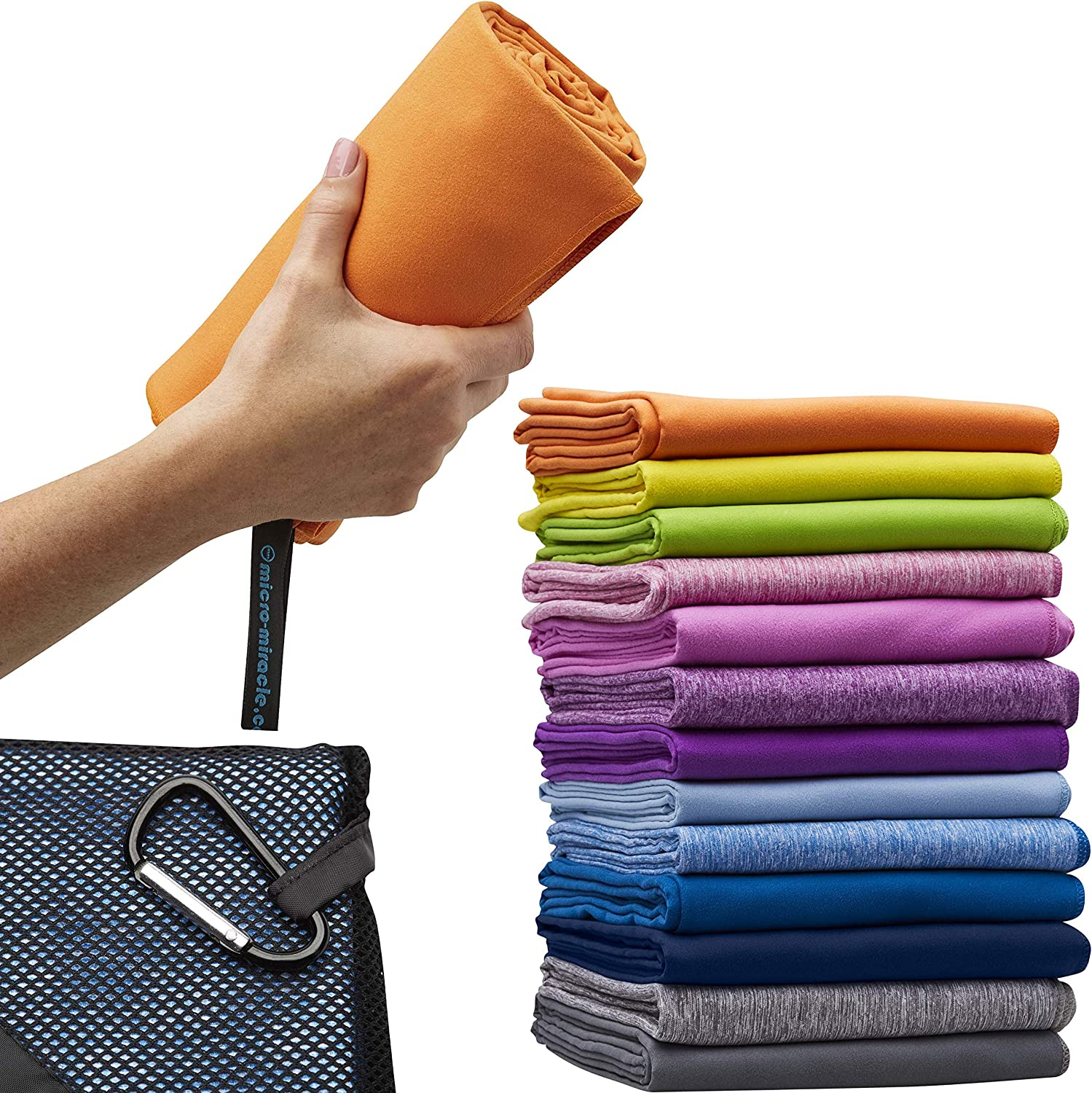 Micro-Miracle XL (30-Inch-by-60-Inch) Soft Microfiber Travel Towel with Hand Towel and Nylon Mesh Carry Bag orange Sunrise