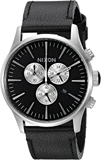 Men's 'Sentry Chrono' Quartz Metal and Leather Watch, Color:Black (Model: A405000-00)
