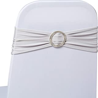 Polyester Decorative Chair Covers - Wedding Party Decor - Silver Stretch Sashes - Party/Wedding/Reception/Bachelorette/Prom Decoration - Chair Covers - Banquet Seat Cover - Elegant Chair Bands. 50.