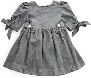 THE SILLY SISSY - Toddlers Girls Winter Thistle Tie-Sleeve Corduroy Dress (2-7/8)