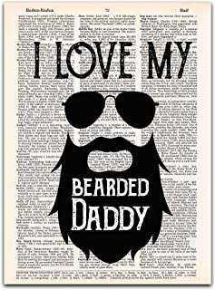 I Love My Bearded Daddy; Gift for Dad on Father's Day, Wall Art Dictionary Print