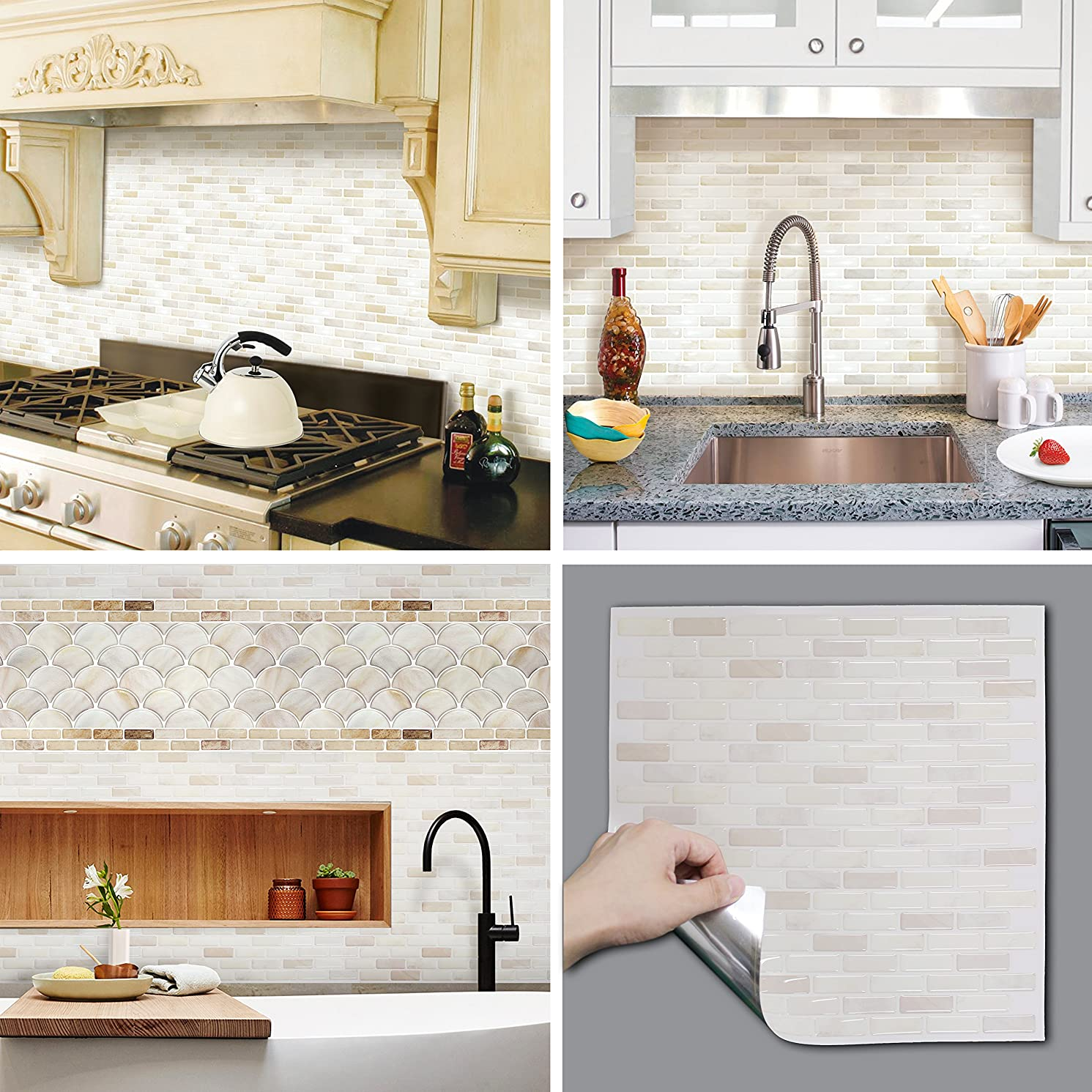 BEAUS TILE Decorative Tile Stickers Peel and Stick Backsplash Fire Retardant Tile Sheet (White Brick) (2, 12.2