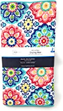 Mainstays Reversible Dish Drying Mat 2-Pack Turquoise and Multicolor Boho Medallion