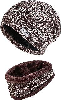 1119362bdf2 Fleece Lined Beanie Hat Scarf Sets Mens   Womens 2-Pieces Winter Wool Warm  Knit