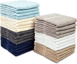 COTTON CRAFT Simplicity Ringspun Cotton Set of 28 Lightweight Washcloths, 12 inch x 12 inch, Assorted Colors