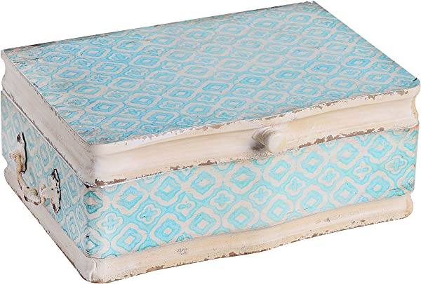 NIKKY HOME Vintage Decorative Wood Case Keepsake Storage Box With Handle And Hinged Lid 13 X 9 1 X 4 9 Inches Pale Blue And Ivory