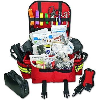 Lightning X Small First Responder EMT EMS Trauma Bag Stocked First Aid Fill Kit B (Red)
