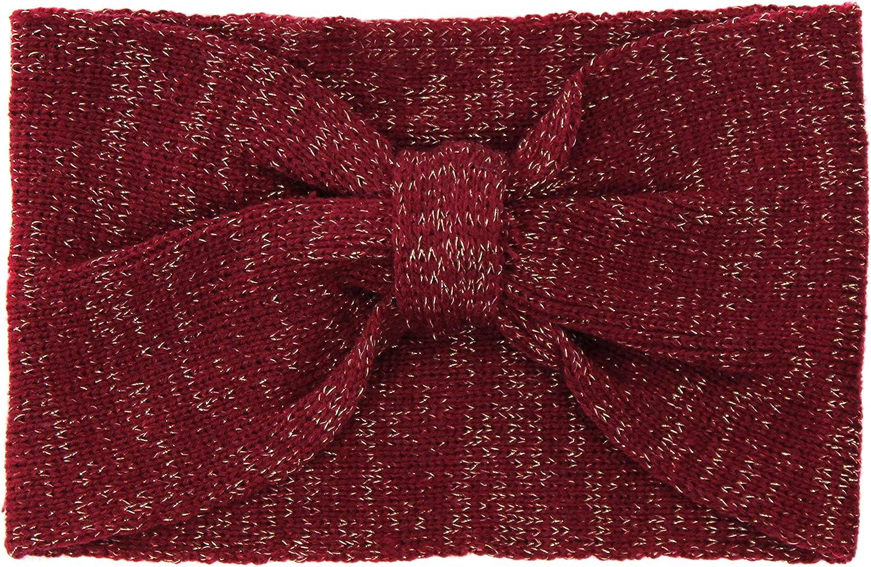 Glitter Knit Warm Winter Headband-Shimmer Stretch Twisted Knot Ear Warmer Snug Fit Headwrap Turban