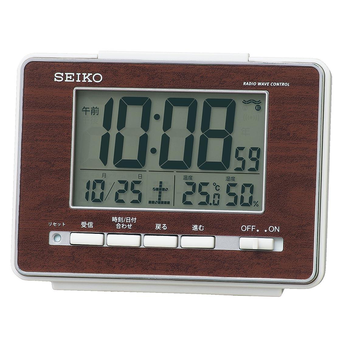練る感性里親セイコークロック 置き時計 05:茶木目 本体サイズ: 9.3 x 12.3 x 4.8cm 電波 デジタル 温度 湿度 表示 SQ785B