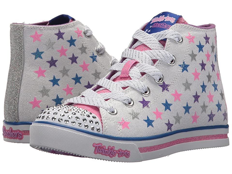 SKECHERS KIDS Twinkle Toes: Sparkle Glitz Shiny Starz 10863L Lights (Little Kid/Big Kid) (White Smooth/Multi Trim) Girl