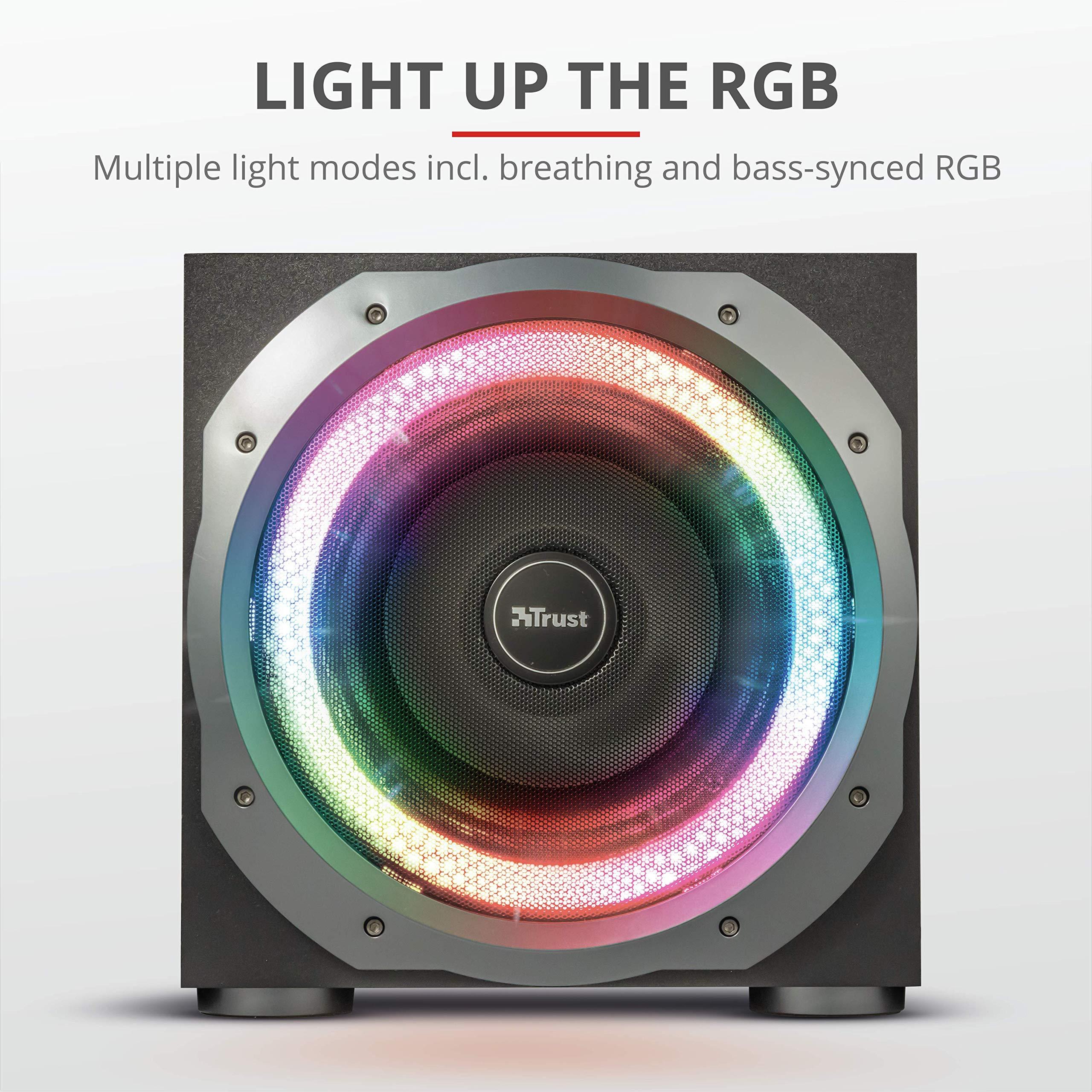 Trust GXT 698 Torro - Juego de altavoces 5.1 con iluminación RGB, dolby digital, para PC, PS4 y Xbox One, 180W, color negro: Amazon.es: Informática