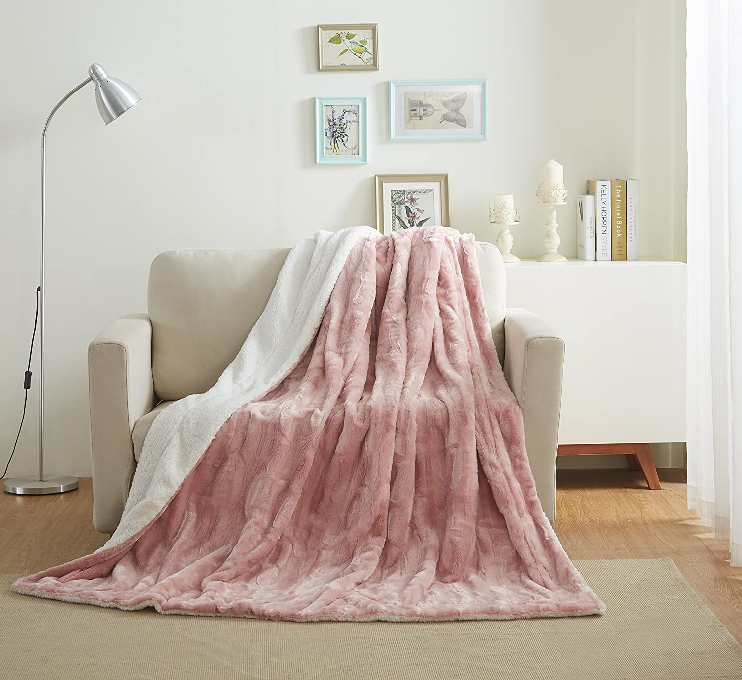 Tache 90x90 Faux Fur Dusty pink Pink Soft Throw Blanket
