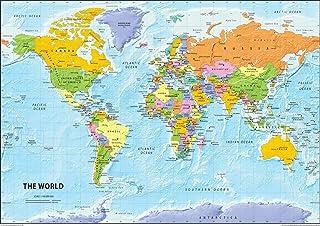 Carte Du Monde Geographie.Amazon Fr Carte Du Monde Plastifiee Cartes Geographiques