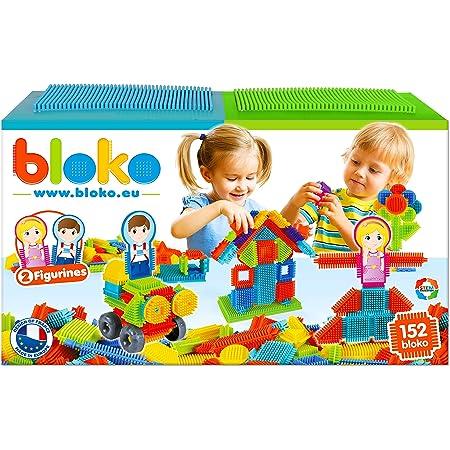 BLOKO – Coffret de 150 BLOKO avec 2 Plaques de jeu et 2 Figurines Famille – Dès 12 mois – Fabriqué en Europe – Jouet de construction 1er âge – 503625