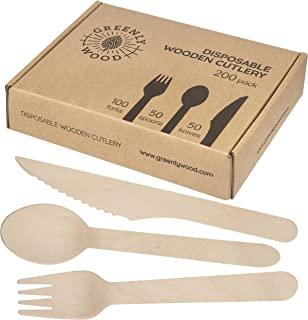 Greenly Wood 200 Pack Disposable Wooden Utensils Set | All Natural Birchwood Biodegradable Compostable Cutlery (100 Forks, 50 Spoons, 50 Knives)