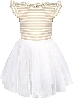Baby Grils Ruffles Lace Dress Yarn-Dyed Striped and Flouncy Sleeves Short Sleeve Tutu Dress Princess Dresses