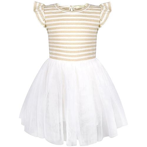 769c72b660d4 HONGLIN Baby Grils Ruffles Lace Dress Yarn-Dyed Striped and Flouncy Sleeves  Short Sleeve Tutu