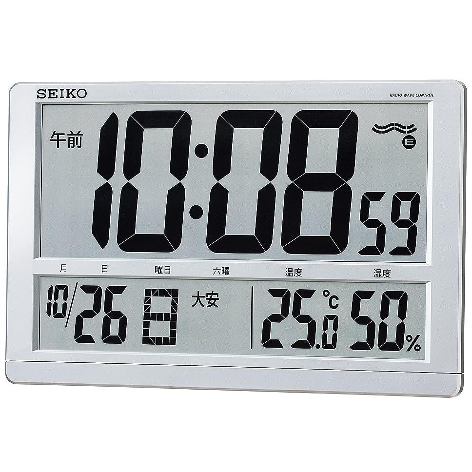 ハンカチロゴジョブセイコー クロック 掛け時計 置き時計 兼用 電波 デジタル カレンダー 六曜 温度 湿度 表示 大型 銀色 メタリック SQ433S SEIKO