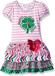 Girls' Shamrock Appliqued Tiered Dress