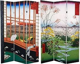 Oriental Furniture 6 ft. Tall Double Sided Hiroshige Room Divider - Asakusa Rice Field/Otsuki Plain