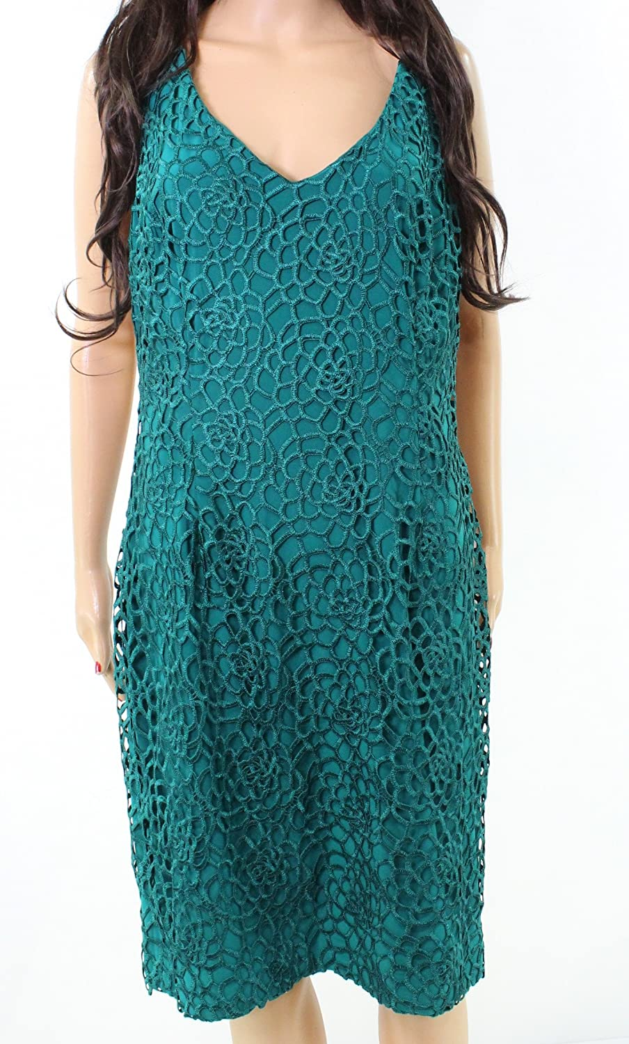 Lauren Ralph Lauren Womens Taylor Lace Overlay Sleeveless Cocktail Dress