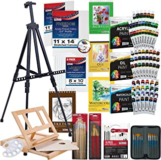 تامین هنر ایالات متحده 133pc لوکس نقاشی هنرمند هنرمند با سلول های فلزی، رنگ و لوازم جانبی آلومینیوم و چوب