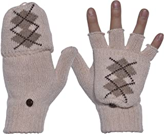 Beurlike Winter Fingerless Gloves Unisex Warm Wool Knit Mittens with Flap Cover