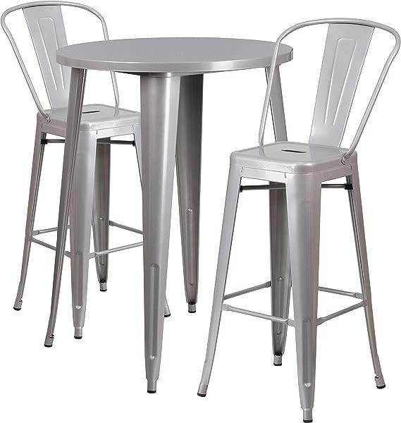闪光家具 30 圆形银色金属室内室外酒吧餐桌套装,配有 2 张咖啡馆凳子