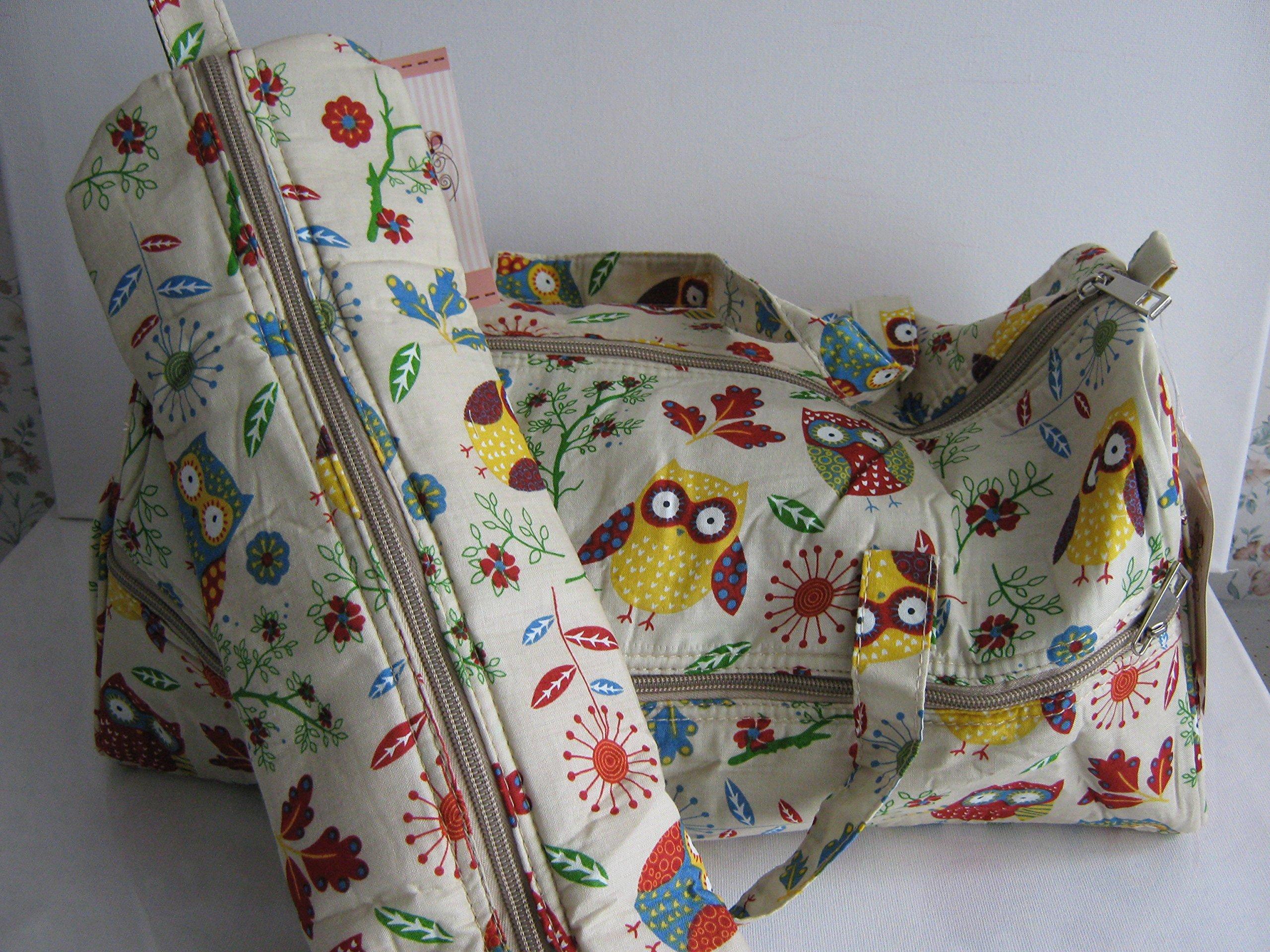 Hobbygift - Neceser con estuche para agujas de tejer (con asas de tela doble), diseño de búhos, color beige: Amazon.es: Hogar