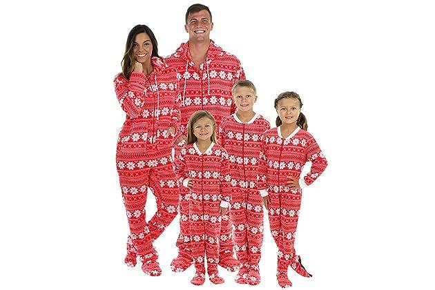 SleepytimePjs Family Matching Red Snowflake Onesie PJs Footed Pajamas d873d3c0d