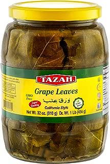 Tazah Premium Grape Leaves California Style 16 Ounce Glass Jar