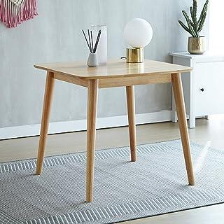 Table de salle à manger en bois massif moderne avec pieds en bois massif pour 2 personnes, série d'Aslan (naturel)