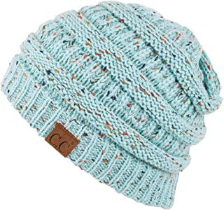 Hatsandscarf CC Exclusives Unisex Ribbed Confetti Knit Beanie (HAT-33) (Mint)