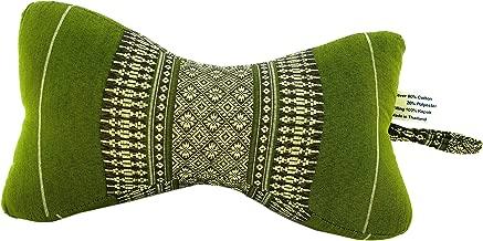 Yoga Neck Bolster Pillow, Exercise Support Block Extra Firm Bone Shaped Handmade 100% Thai Kapok Fiber Filling, All Natural Stuffing Filled (Daisy Green Tea)