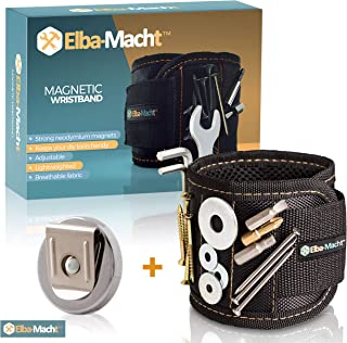 Magnetic Wristband for Holding Tools - Men s gift - Strong Magnets for Holding Screws, Nails, Drill Bits – Plus Magnetic Belt Clip - Best Tool Gift Set Idea - for DIY Work, Handyman,Father,Dad, Husband