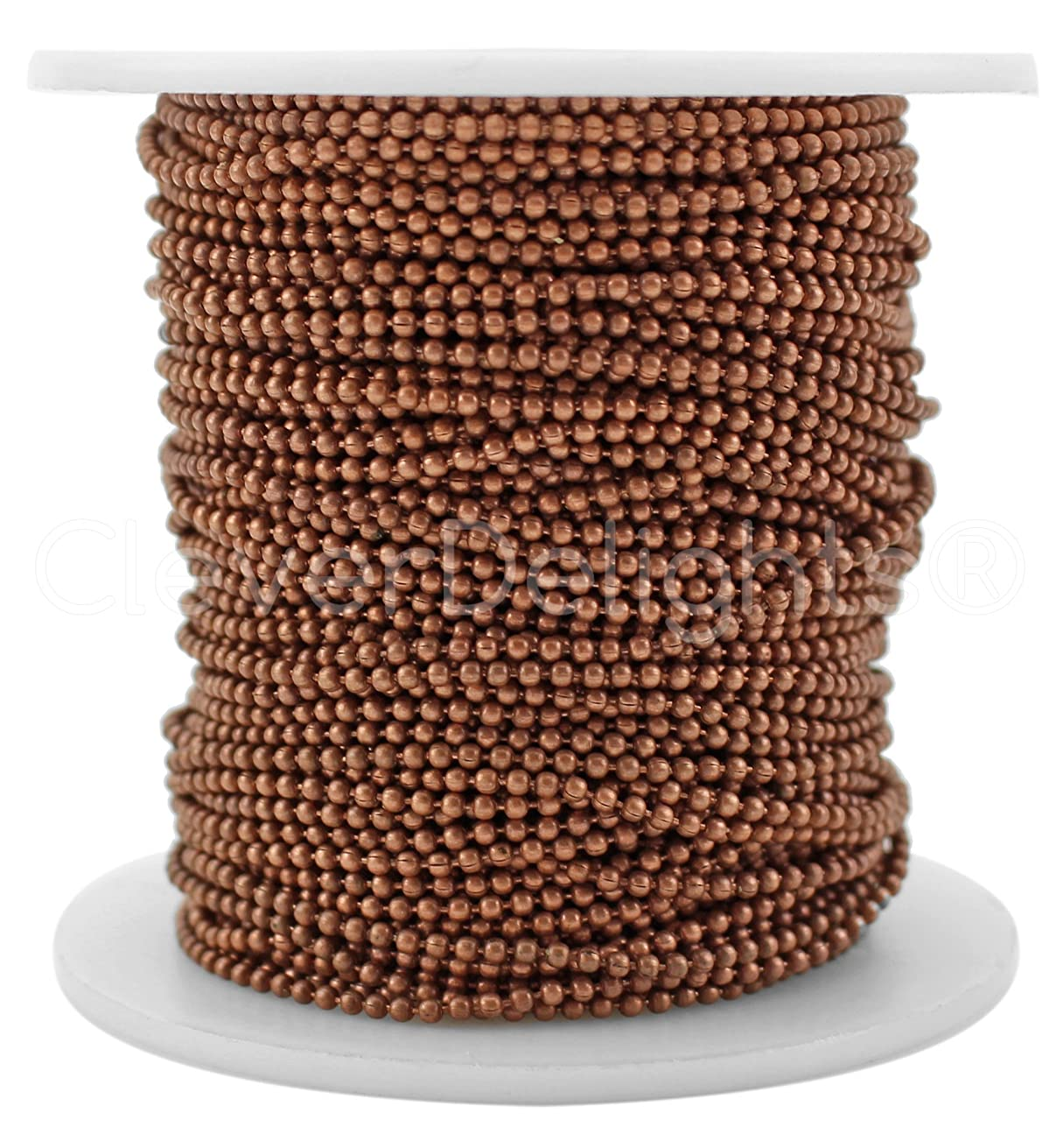 CleverDelights Ball Chain Spool - 30 Feet - 1.5mm Ball (Small) - Antique Copper Color - 10 Meters