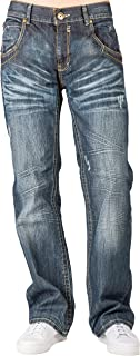 Level 7 Men's Relaxed Bootcut Denim Distressed Jeans with Zipper Pocket