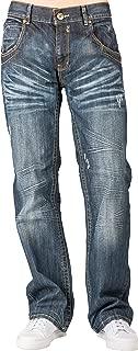 Men Relaxed Bootcut Premium Denim Distressed Jean Zipper Utility Pocket