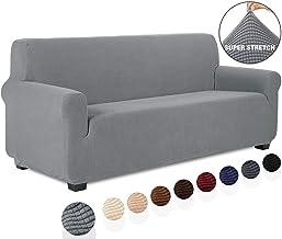 TIANSHU Funda de sofá 3 plazas Tejido Jacquard de poliéster y Elastano Fundas de sofá Suaves duraderas(3 plazas,Gris Claro)