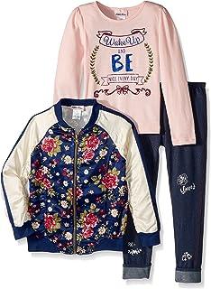 32bbb93bb059 Little Lass Girls' 3 Pc Floral Satin Jacket Set